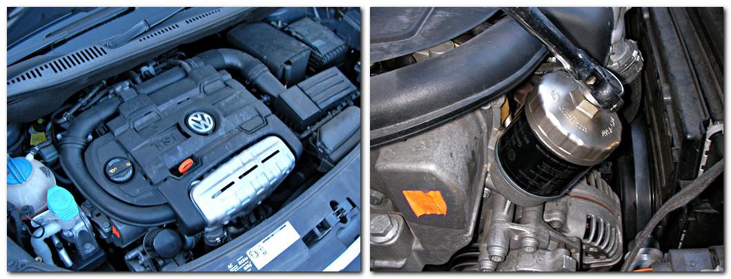 Volkswagen Golf Touran 2010のエンジンルームとオイルフィルター