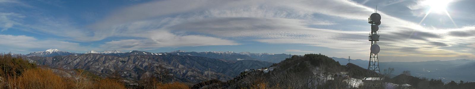 2014年1月3日14時、中川村陣馬形山からの南アルプス