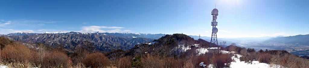 2014年1月24日、陣馬形山より赤石山脈を望む