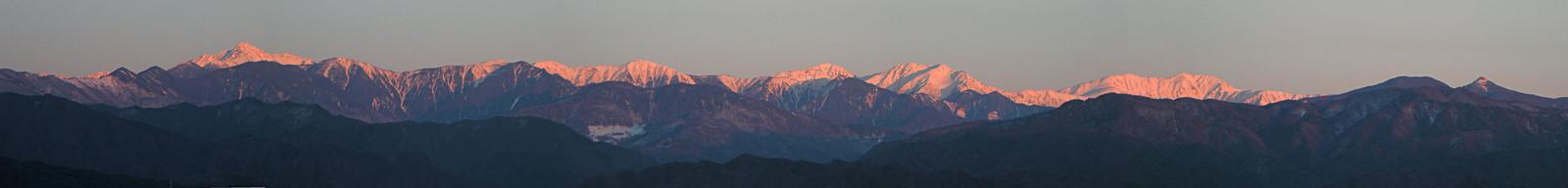 2014年3月22日「夕日に染まる赤石山脈」