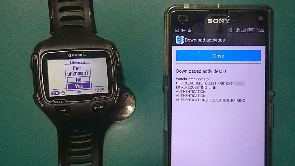 SONY Xperia Z3 CompactとGarmin Forerunner 910XTとのペアリング