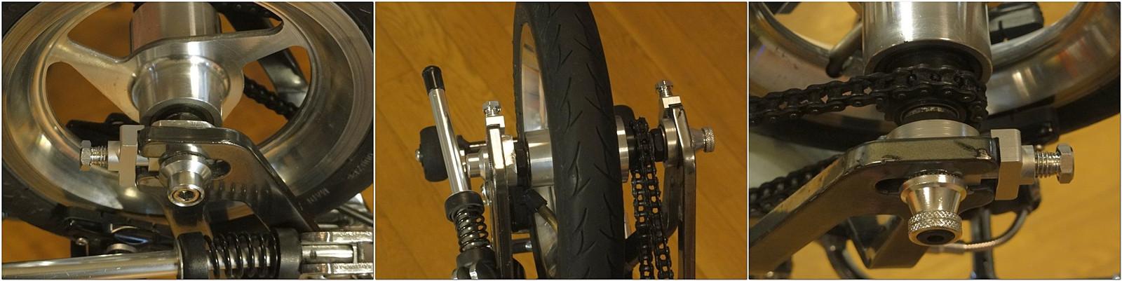 アクセルシャフト(後輪軸)が中空シャフト化されたキャリーミーのリヤホイール(後輪)