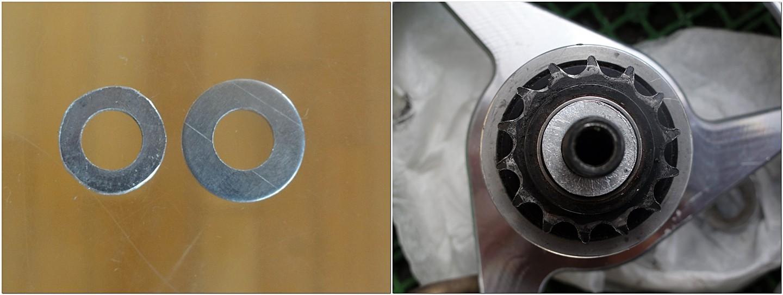 内径9mmのアルミワッシャーとキャリーミーのコグ